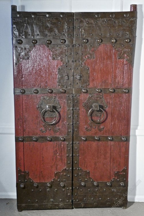 18th Cent Heavy Painted Oak & Iron Oriental Doors - Antiques Atlas - 18th Cent Heavy Painted Oak & Iron Oriental Doors