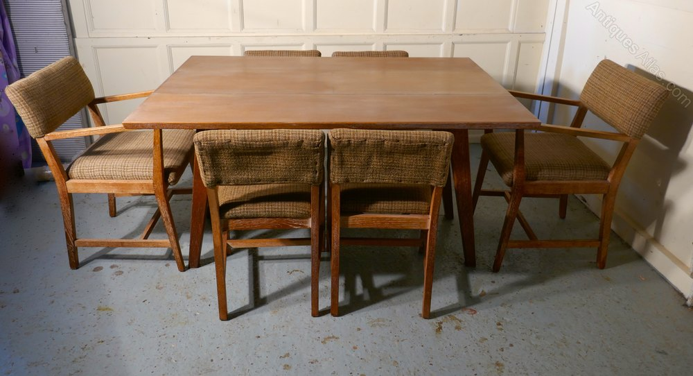1950s Limed Oak Extending Dining Table U0026 Set Of 6 Chairs ...