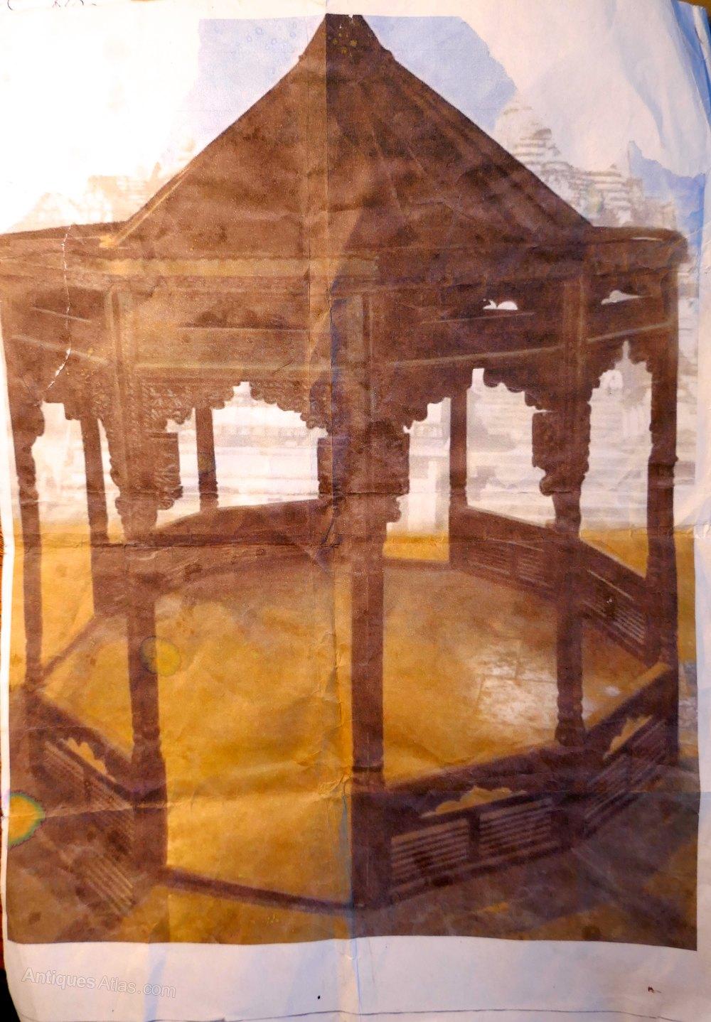 Photos 19th C Carved Teak Gazebo