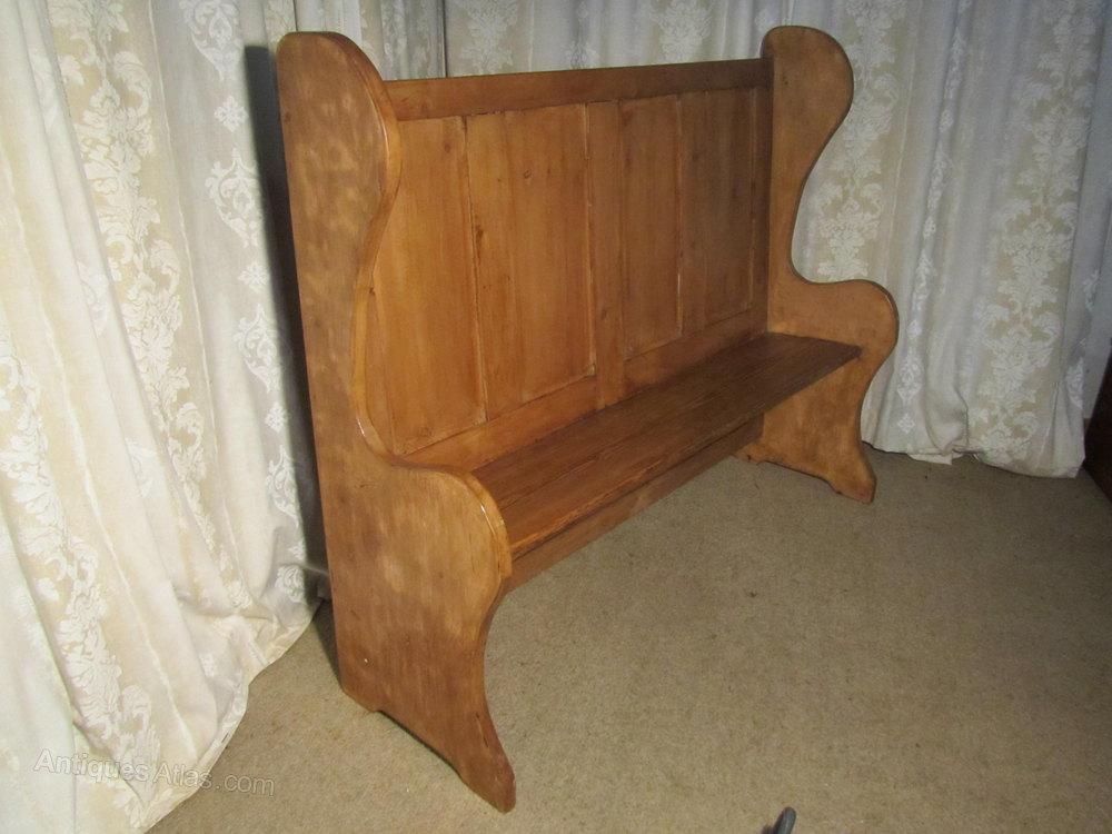 19th C High Back Pine Settle Fireside Pub Bench Antiques