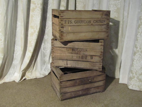 Antiques Atlas 3 French Wooden Stamped Apple Boxes