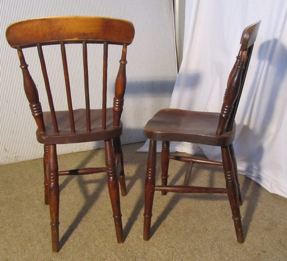 Vintage Kitchen Chairs For Sale: 4 Victorian Beech & Elm Stick Back Kitchen Chairs