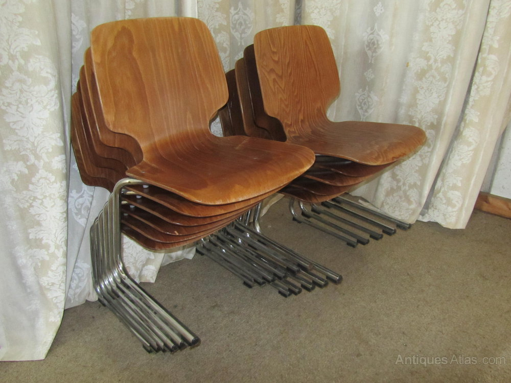 Antiques Atlas - 60s Retro Hot Moulded Stacking Chairs By Kusch Co