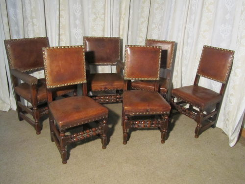 6 Heavy Gothic Oak and Leather Dining Chairs - 6 Heavy Gothic Oak And Leather Dining Chairs - Antiques Atlas