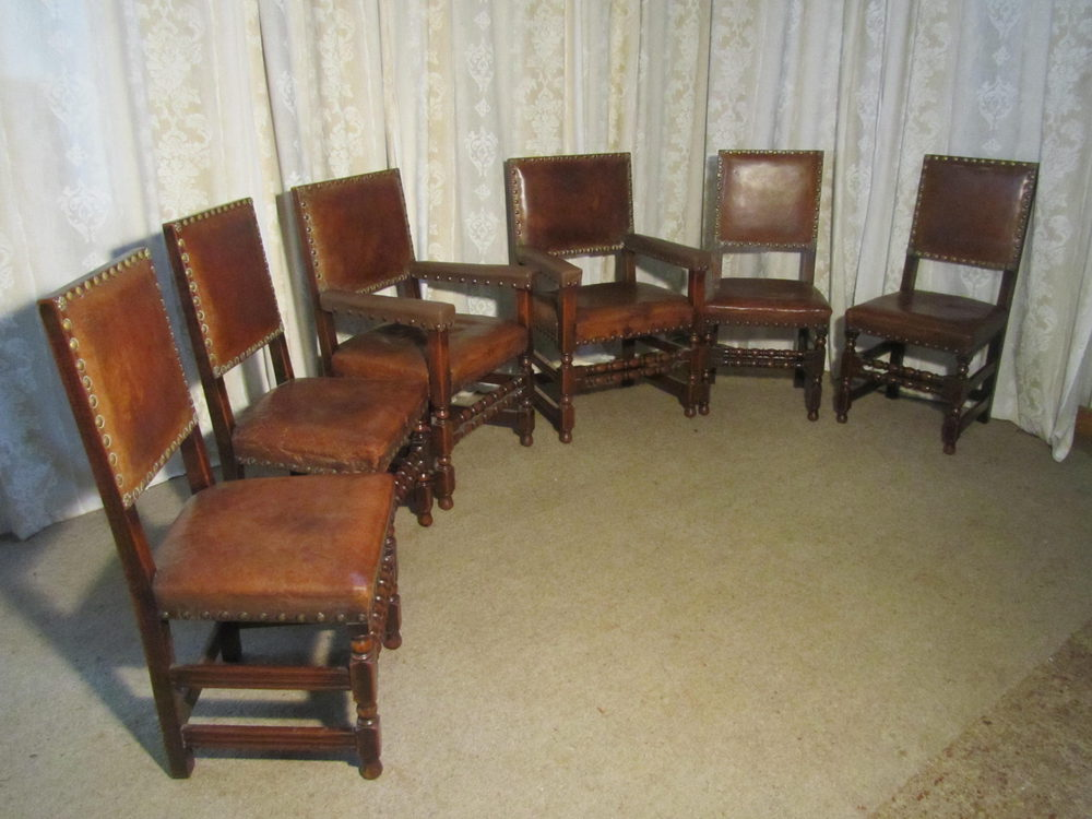 6 Heavy Gothic Oak And Leather Dining Chairs Antiques Atlas