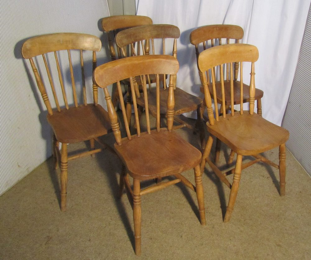 6 Victorian Beech Amp Elm Stick Back Kitchen Chairs