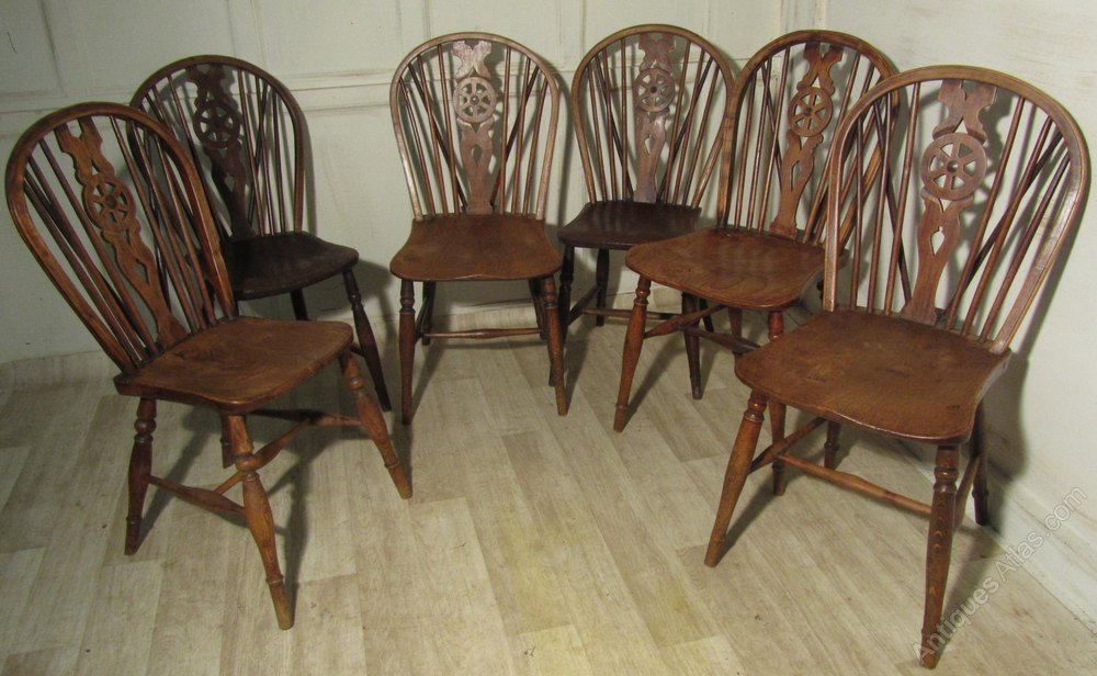 6 Victorian Beech u0026 Elm Wheel Back Chairs ... & 6 Victorian Beech u0026 Elm Wheel Back Chairs - Antiques Atlas
