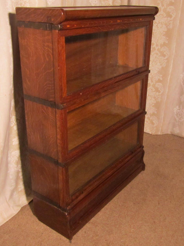 A 3 Stack Oak Globe Wernicke Barristers Bookcase 0