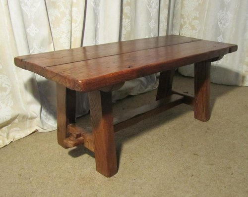 A Charming French Rustic Oak Coffee Table