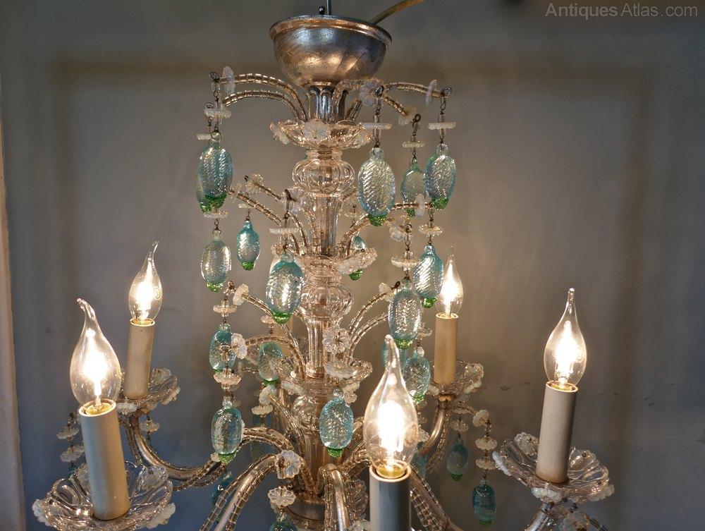 Fancy A Charming Italian Silvered Opaline Chandelier Antique Lighting Antique Italian Chandeliers