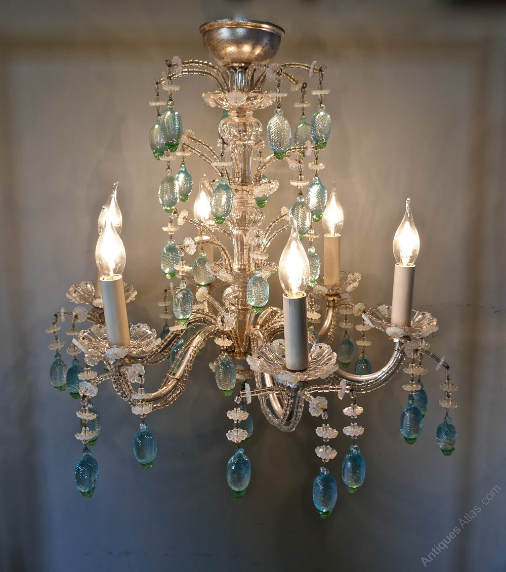 Ideal A Charming Italian Silvered Opaline Chandelier