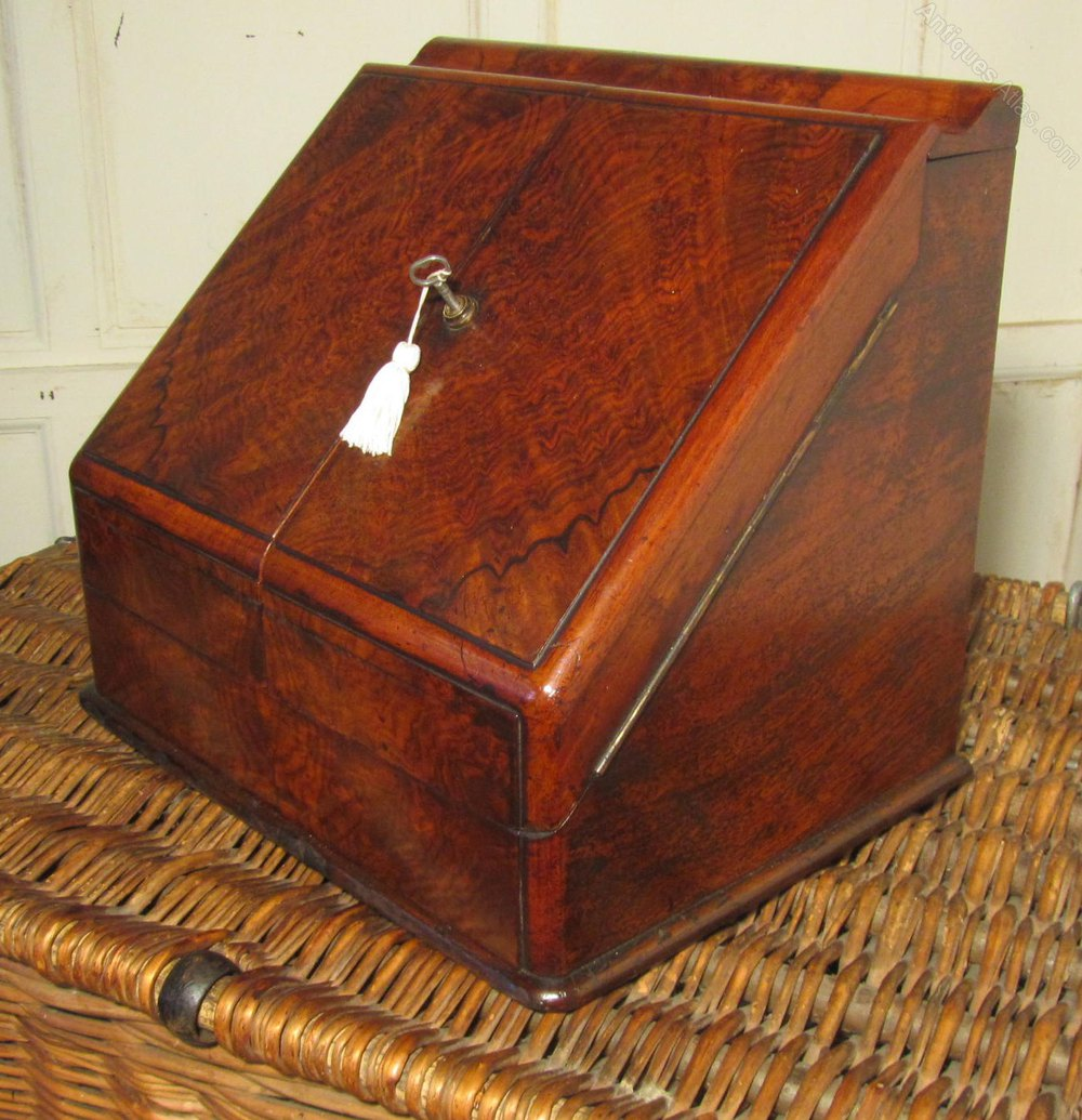 antiques atlas a charming victorian burr walnut stationary box. Black Bedroom Furniture Sets. Home Design Ideas