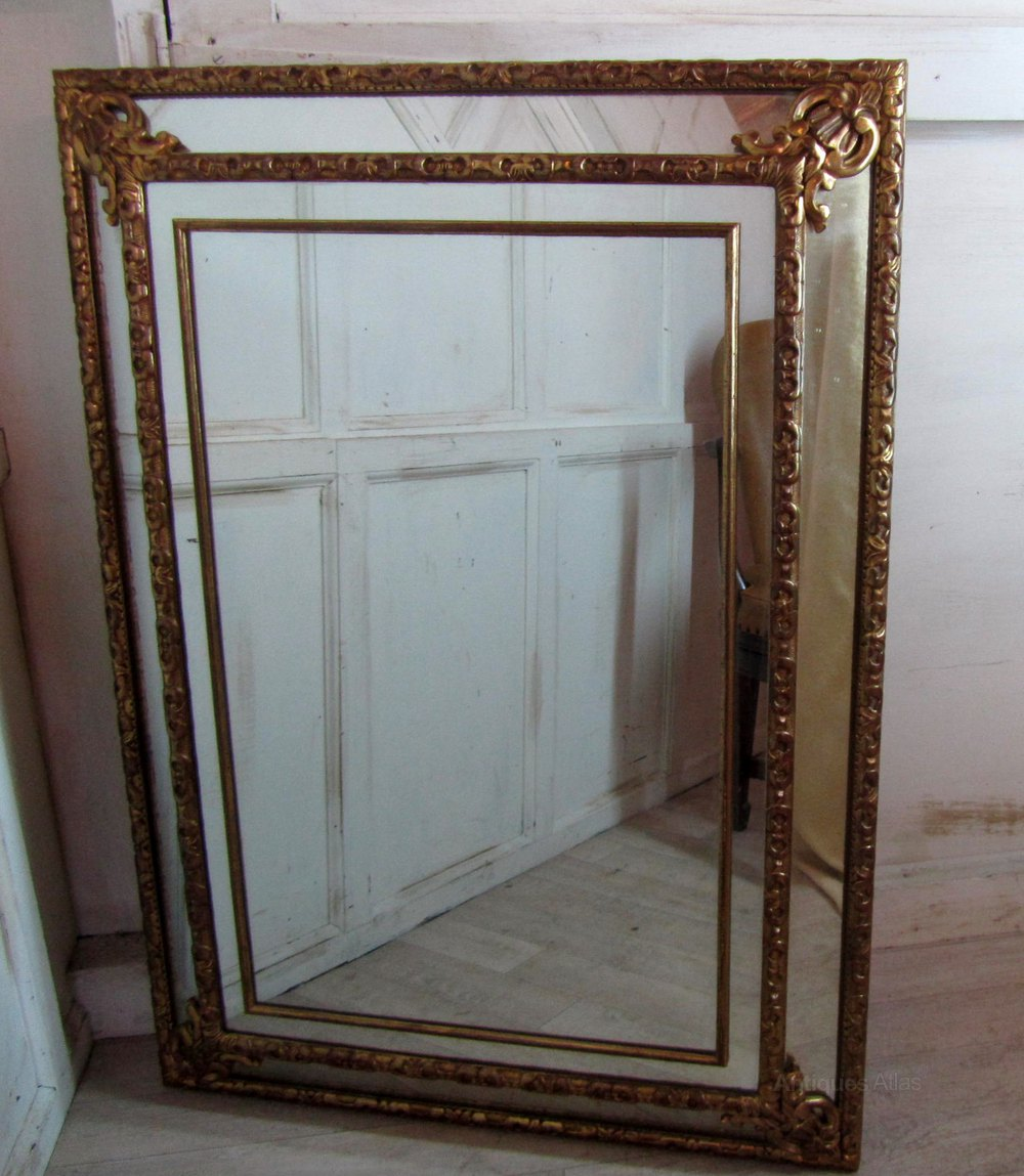 A Large French Gilded Brass Cushion Mirror Antique Mirrors