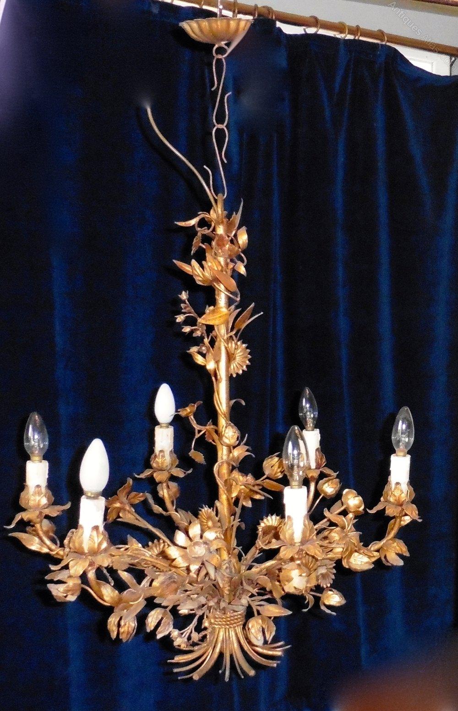 A Large Italian Gold Tole Chandelier