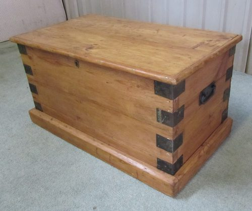 A Large Very Heavy Victorian Pine Blanket Box Antiques