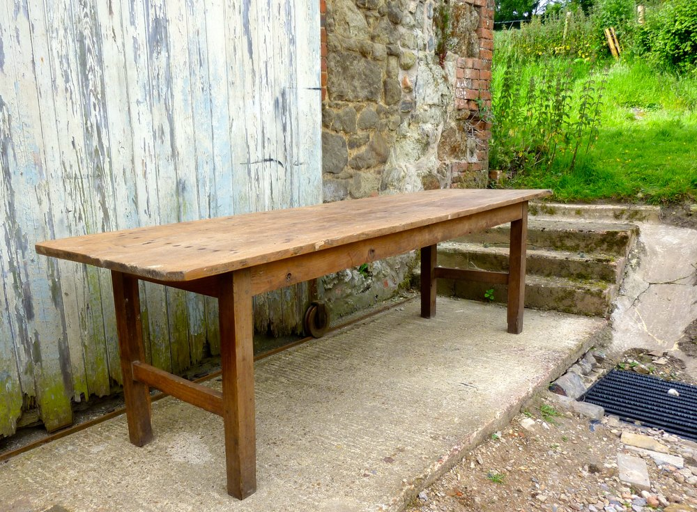 A long french rustic pine table antiques atlas for Long rustic table