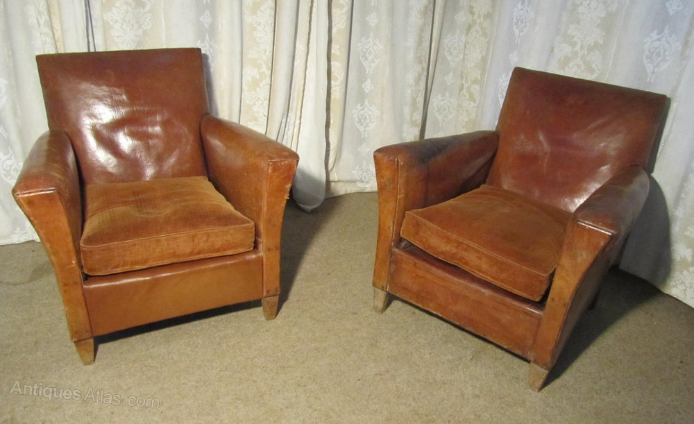 a pair of french art deco leather club chairs antiques atlas