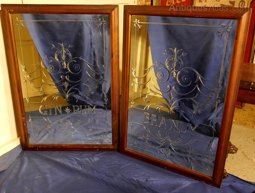 A Pair Of Large Etched Gl Pub Mirrors