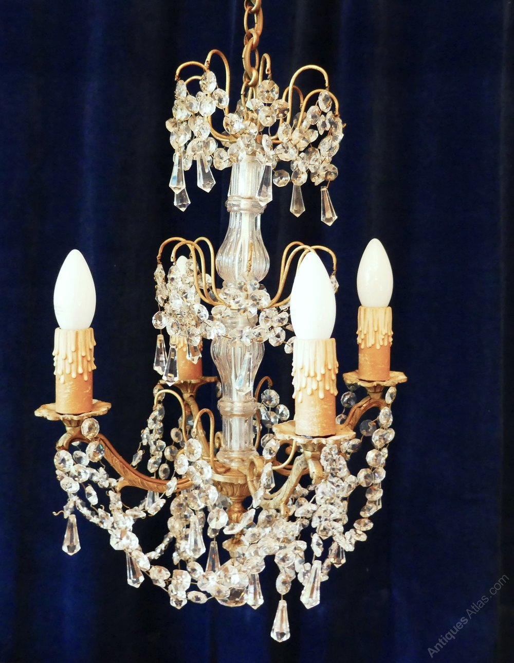 antiques atlas a stunning 4 branch chandelier by lucien gau paris. Black Bedroom Furniture Sets. Home Design Ideas
