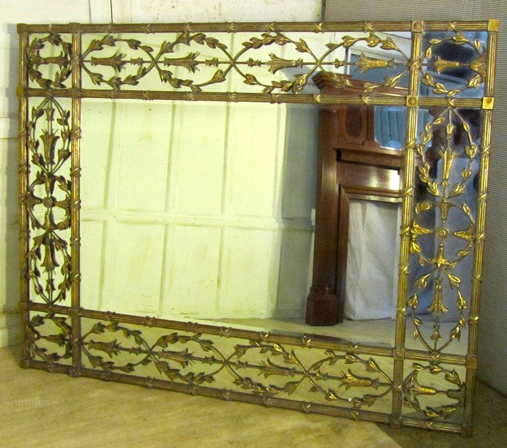 A Very Large Gilt Brass Margin Wall Mirror Antique Mirrors