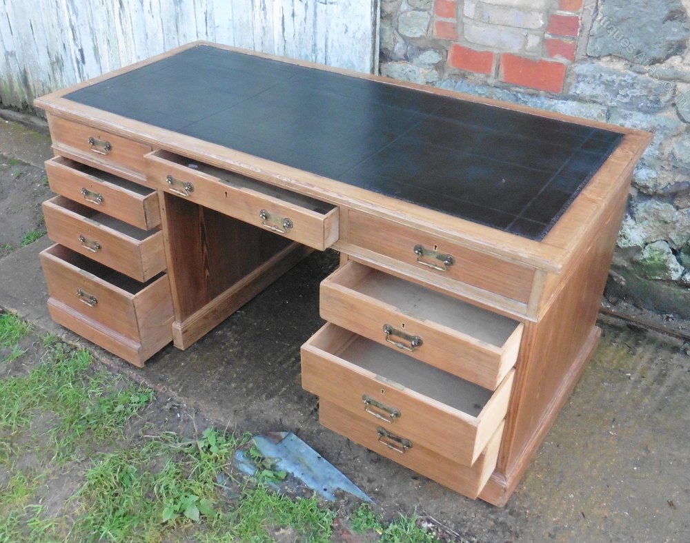 A Very Large Victorian Pitch Pine Desk By Heals