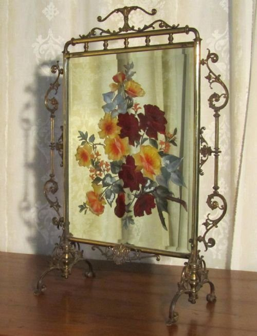 Antiques Atlas A Victorian Brass Painted Mirror Fire Screen