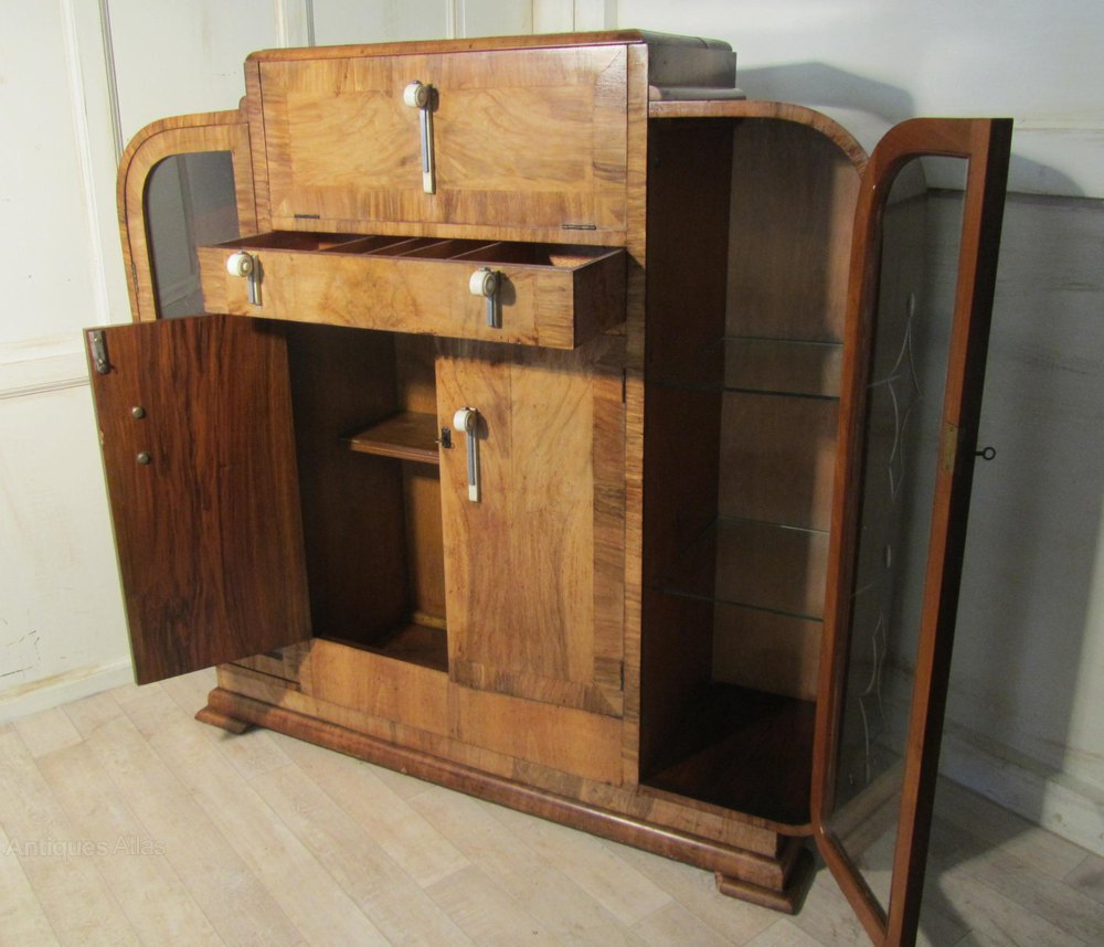 Art Deco Odeon Stylish Walnut Cocktail Cabinet Antiques