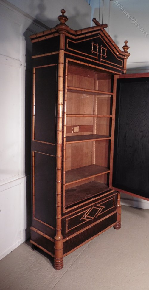 Bamboo Vitrine Armoire Wardrobe Display Cabinet Antiques