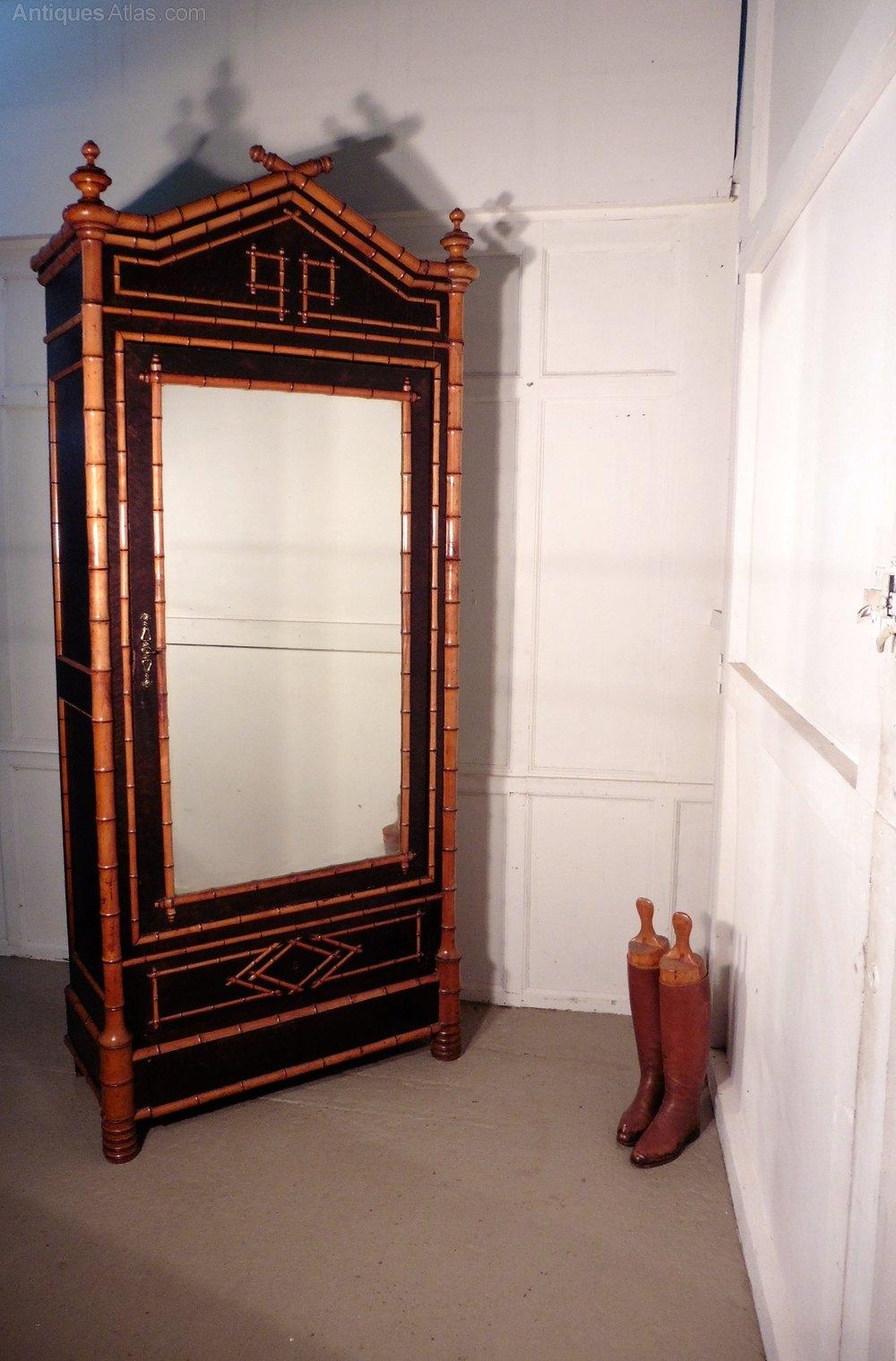 Bamboo Vitrine Armoire Wardrobe Display Cabinet Antiques