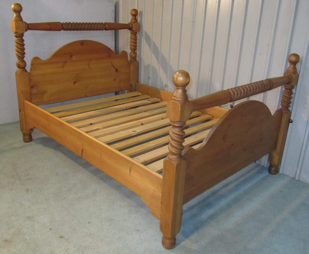 Barley Twist Pine Double Bed Antiques Atlas