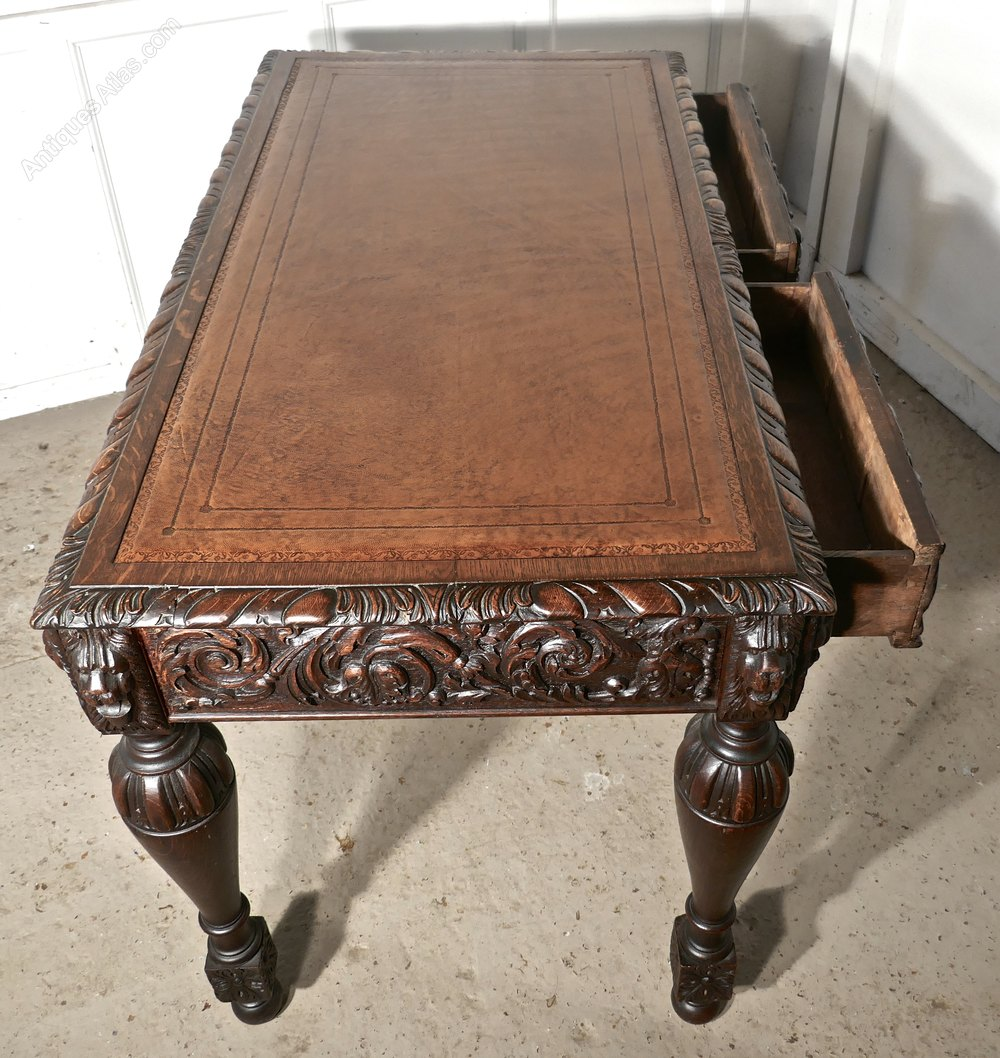 Beautiful Carved Gothic Oak Writing Table or Centre table Antique Writing Tables