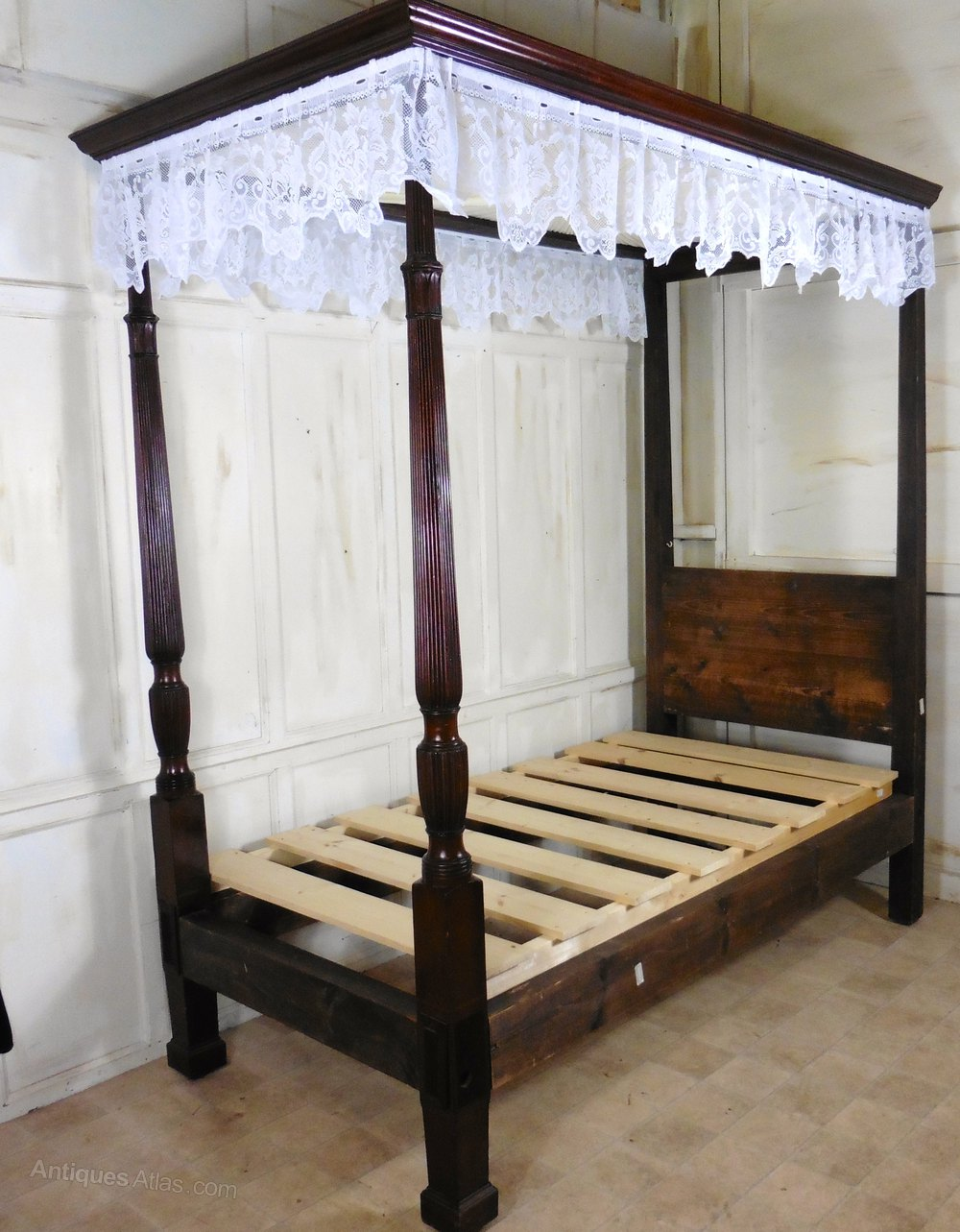 Charming Victorian Single Mahogany Four Poster Bed Antique Beds Alt5