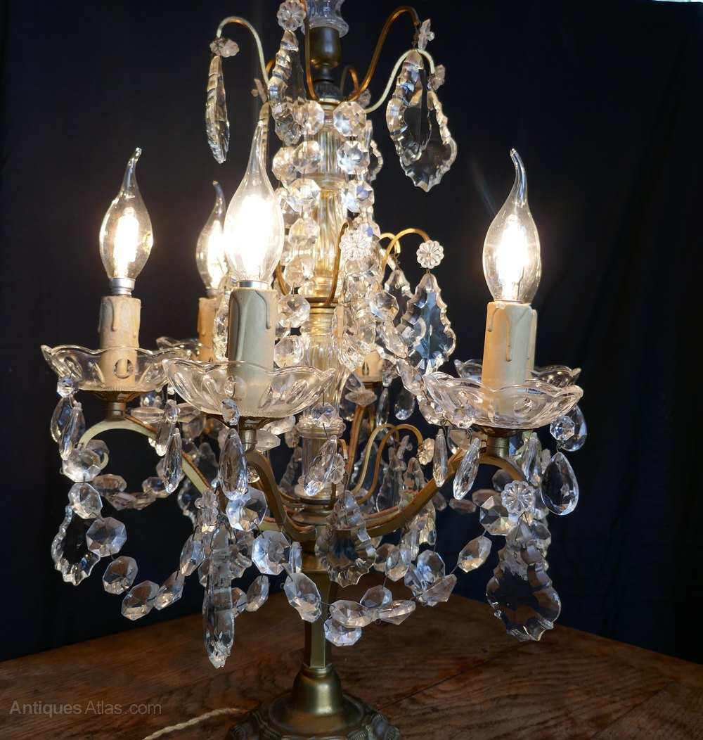 Antiques Atlas Crystal 6 Branch Chandelier Table Lamp