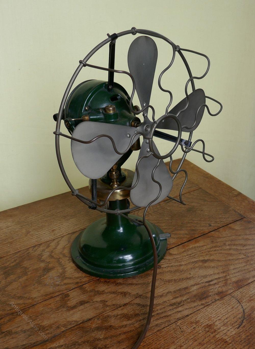 antiques atlas dark green 1920s art deco electric fan industrial. Black Bedroom Furniture Sets. Home Design Ideas