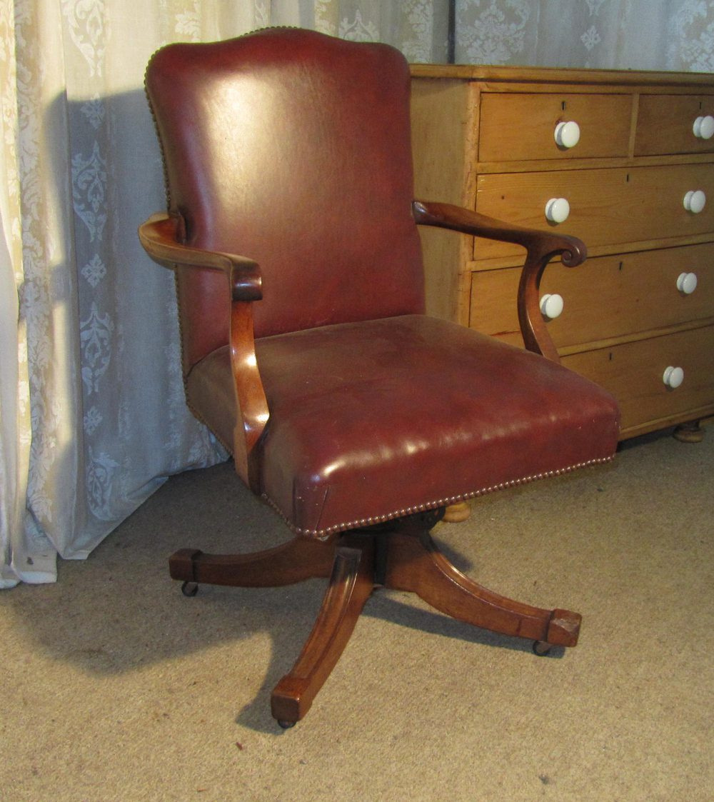 Edwardian Mahogany and Leather Office Desk Chair Antique ... - Edwardian Mahogany And Leather Office Desk Chair - Antiques Atlas
