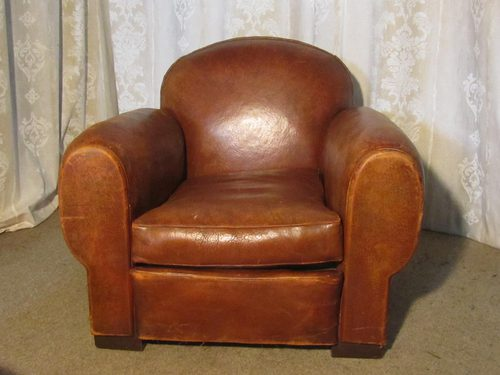 French Aged Leather Art Deco Club Chair