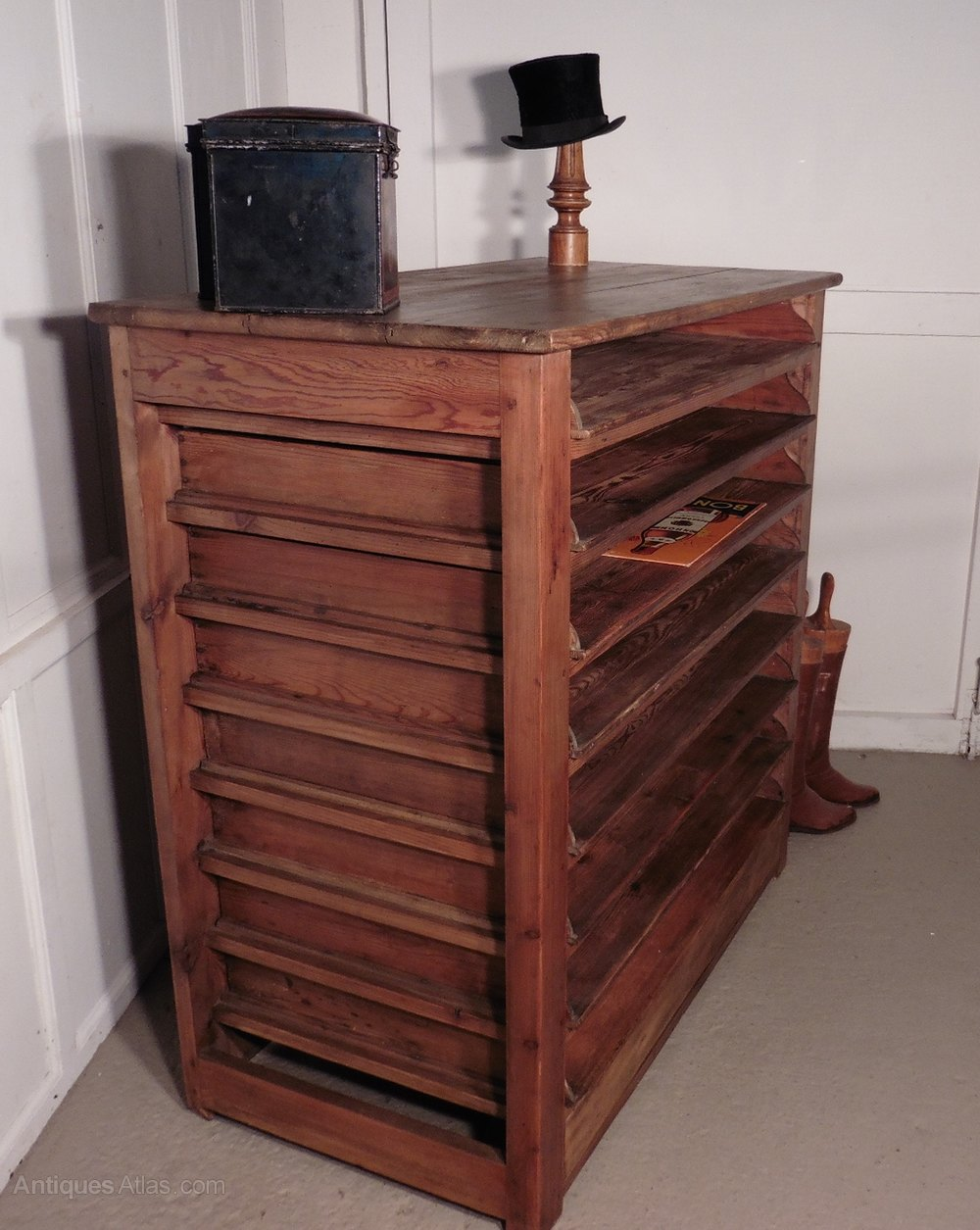 French Artists Plan Chest Rustic Pine Storage Cabinet