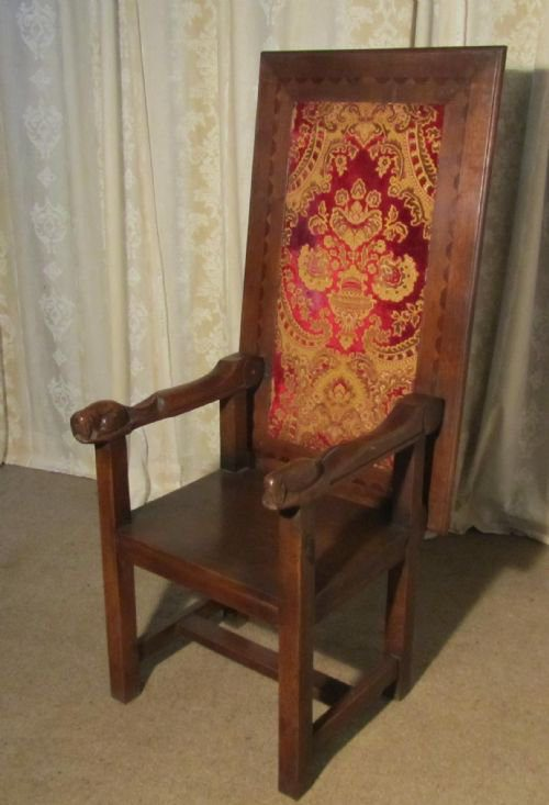 French Carved Oak Throne Chair And Monks Bench Antiques