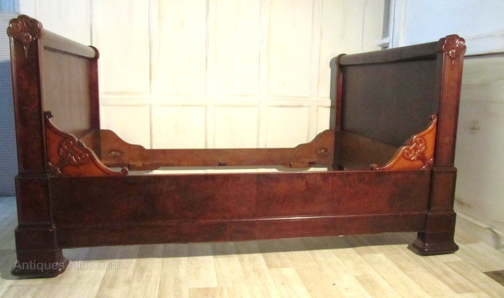 French Mahogany And Walnut Sleigh Bed Day Antique