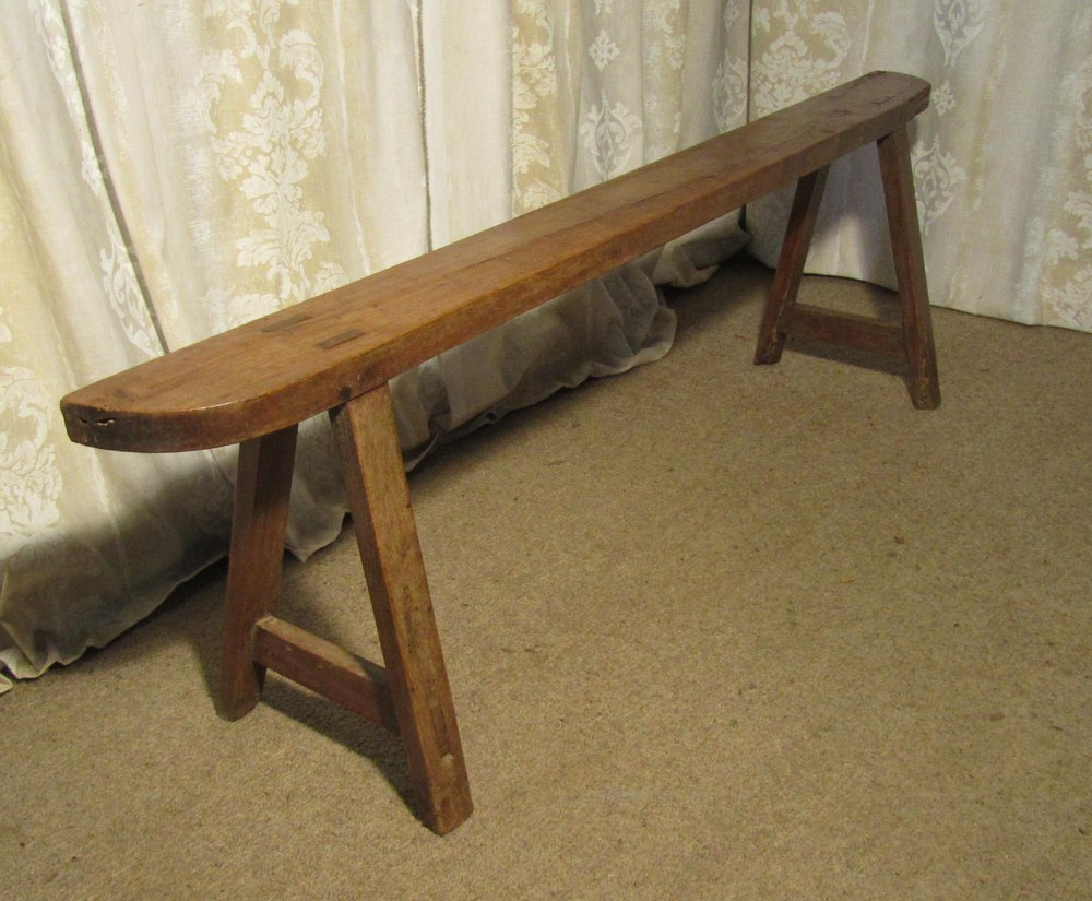 French Rustic Cherry Wood Farmhouse Harvest Bench