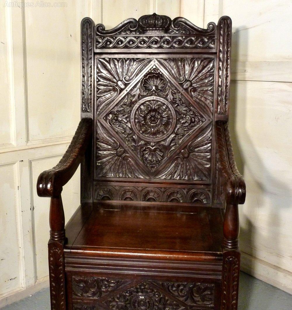 Beau High Oak Box Settle Wainscot Throne Hall Chair ...