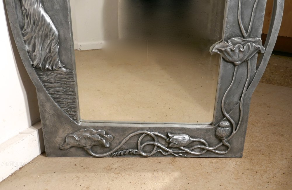 Antiques Atlas Large Art Nouveau Style Pewter Wall Mirror