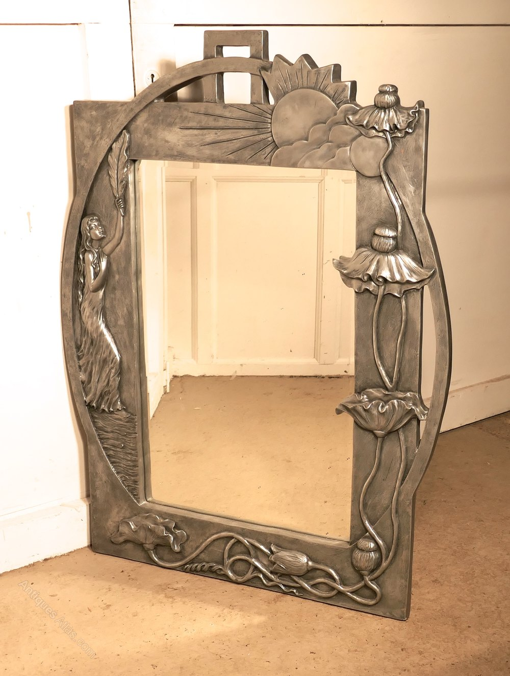 Antiques Atlas - Large Art Nouveau Style Pewter Wall Mirror