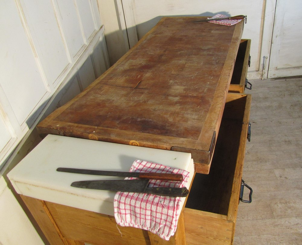 Large Kitchen Butchers Block : Large French Butchers Block, Kitchen Island - Antiques Atlas