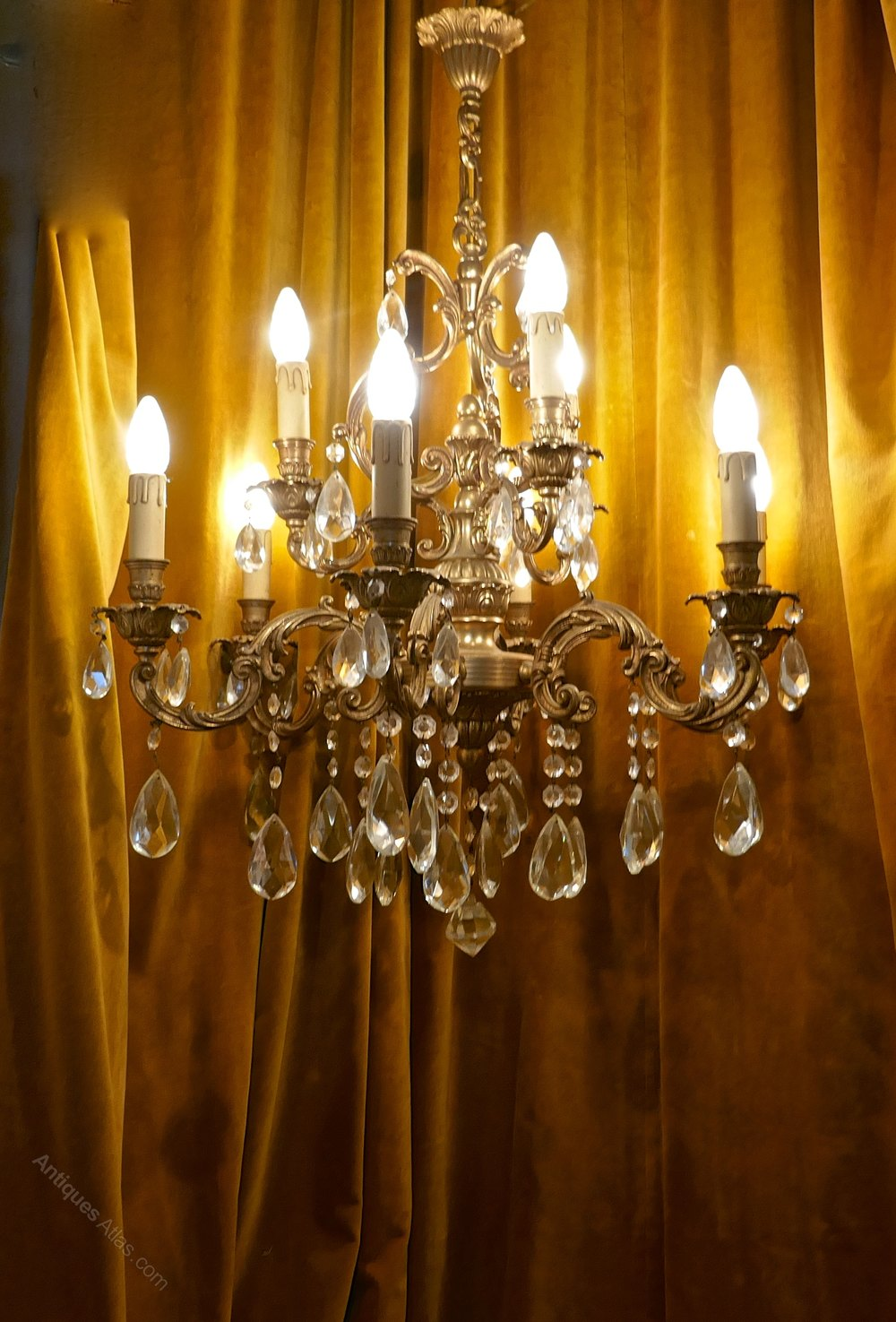 antiques atlas large french crystal and brass 9 branch chandelier. Black Bedroom Furniture Sets. Home Design Ideas