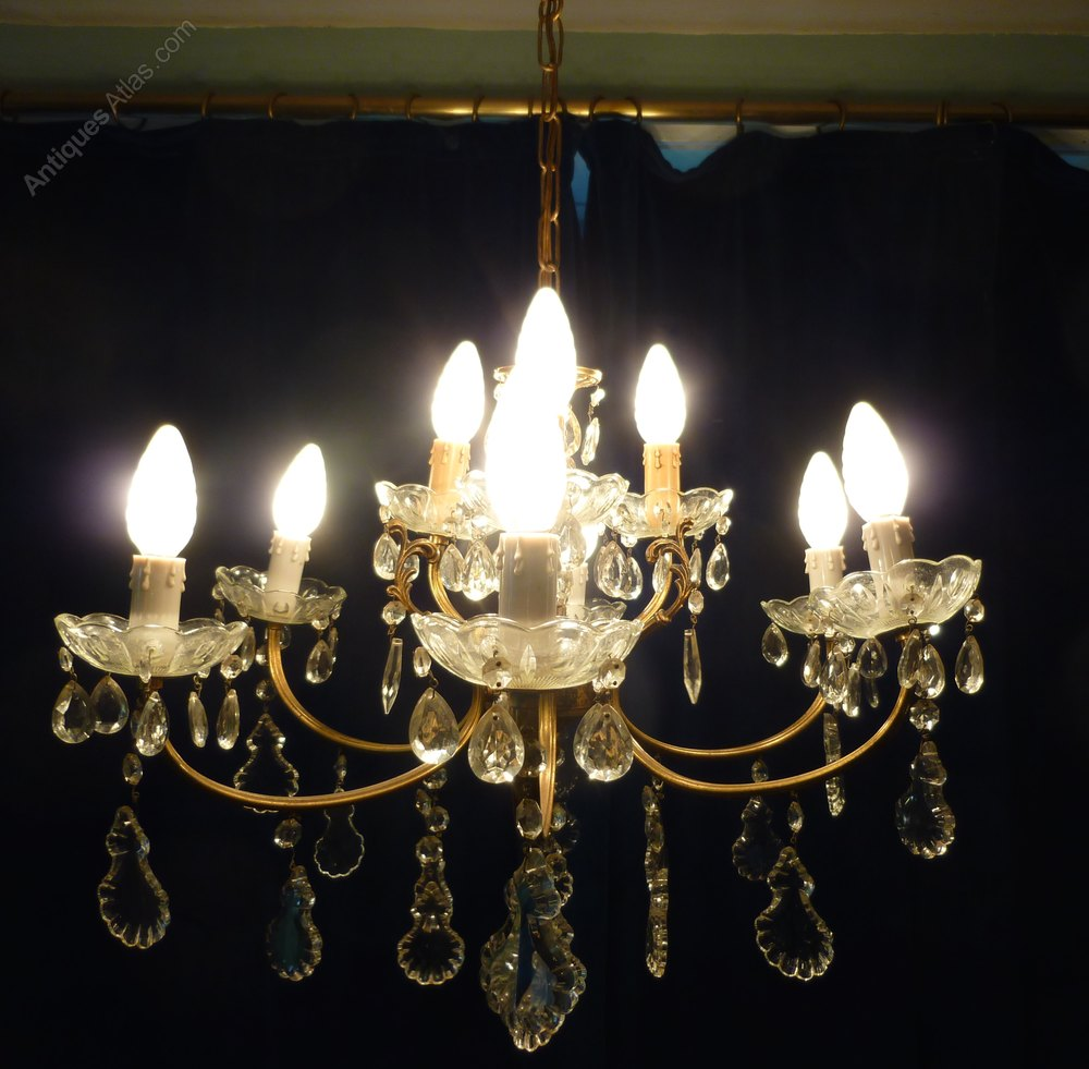 Antiques Atlas Large French Cut Glass 9 Lamp Brass
