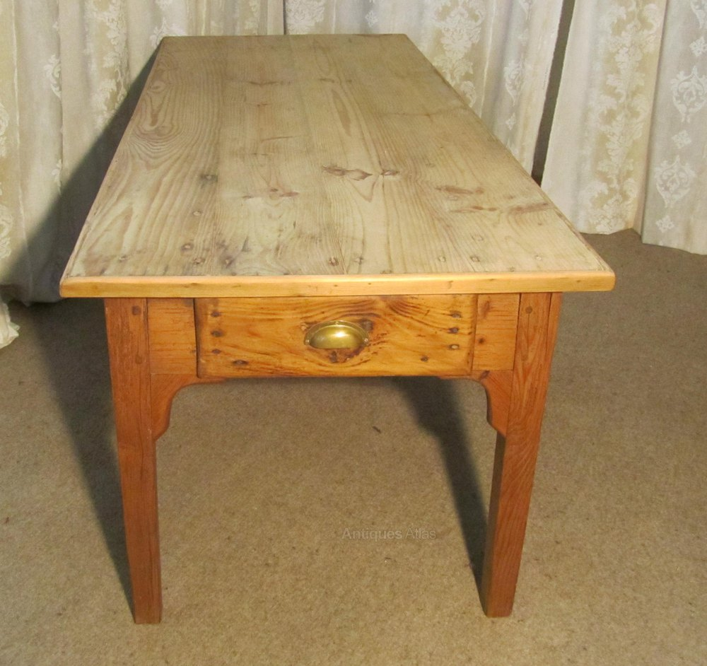 French Farmhouse Kitchen Table large french farmhouse kitchen pine table - antiques atlas