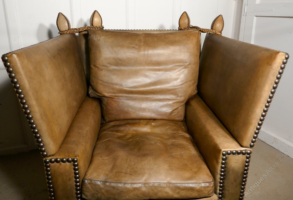 Large leather knole settee arm chair antiques atlas