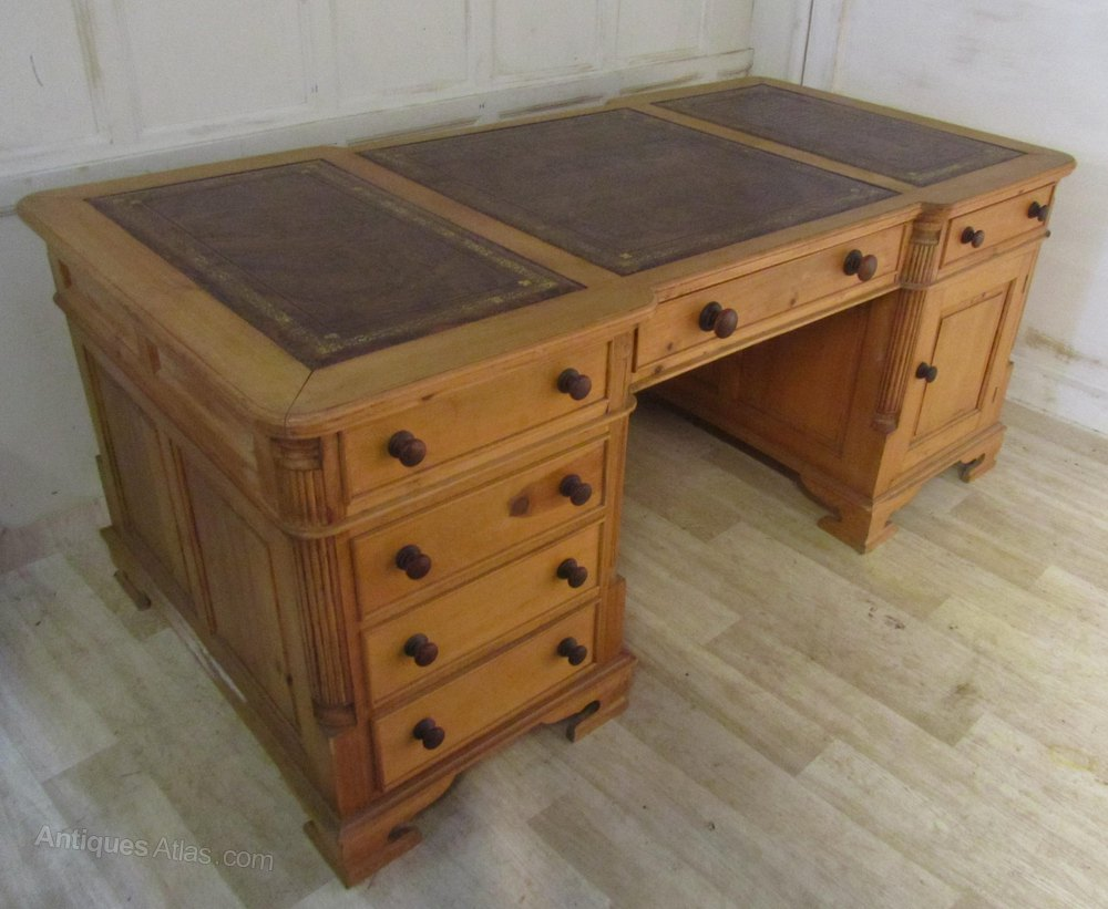 Please Telephone Victorian Pitch Pine Partners DeskFB Antiques · Large Pine  Break Front Pedesta - Pine Antique Partners Desks - Antiques Atlas