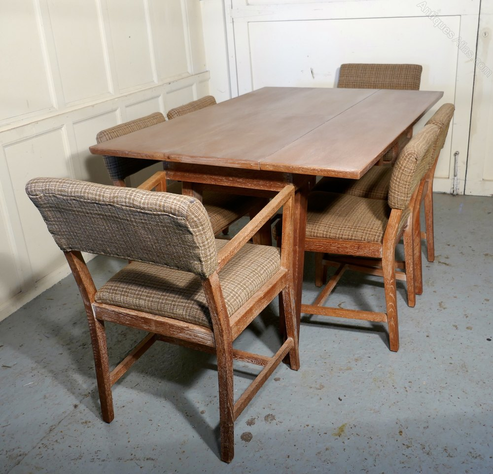 Limed Oak Extending Dining Table Set Of 6 Chairs